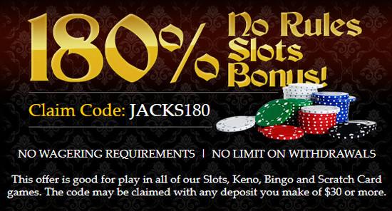 Captain Jack kazino premija: JACKS180