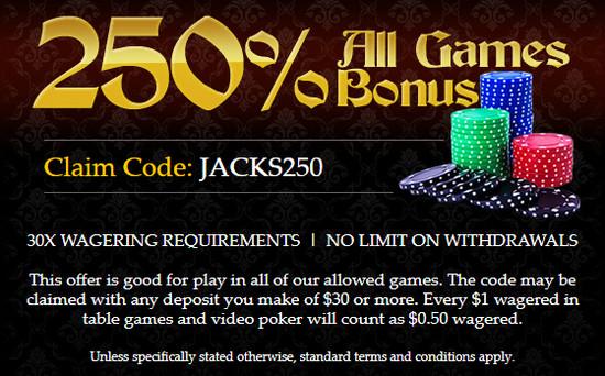 Captain Jack kazino premija: JACKS250