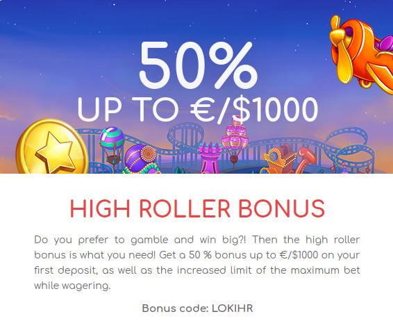 Loki kazino premija: promo kodas - LOKIHR