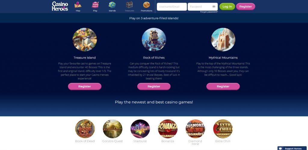 Casino Heroes kvestų elementų