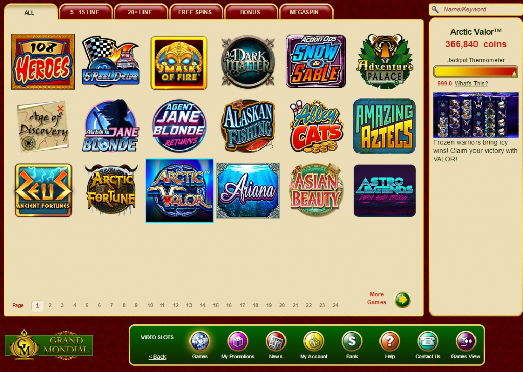 Grand Mondial Casino žaidimų automatai