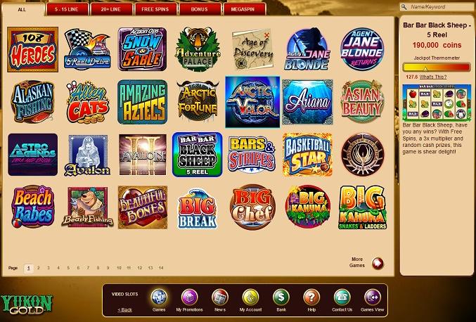 Yukon Gold Casino žaidimų automatai