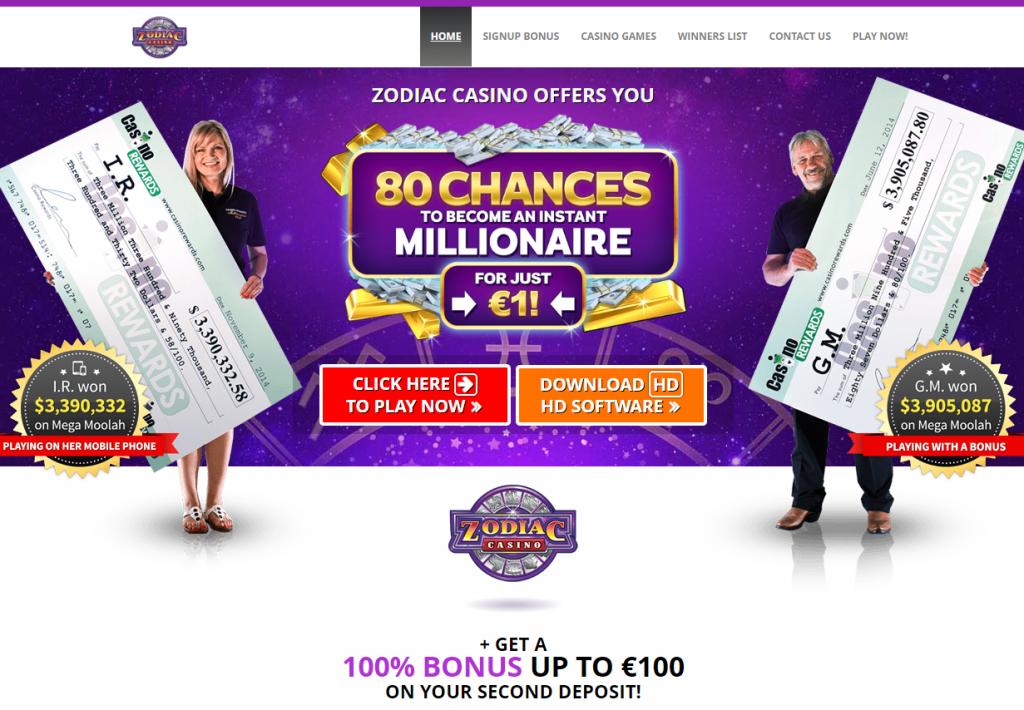 Oficiali Zodiac Casino internetinė svetainė