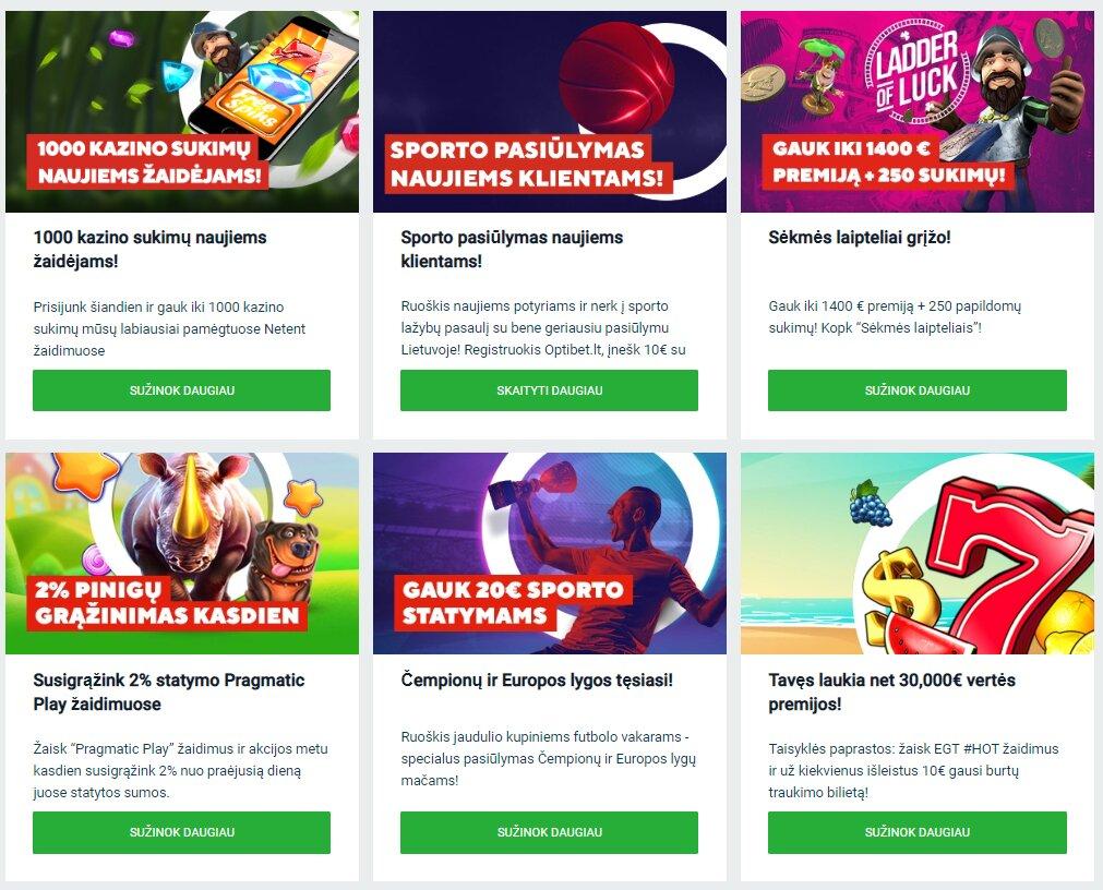 OptiBet kazino premijos