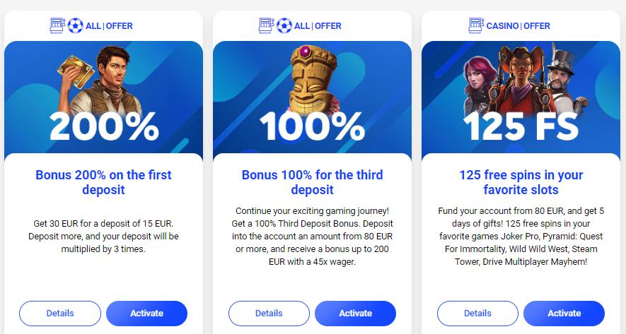 Kazino Slottica bonusai