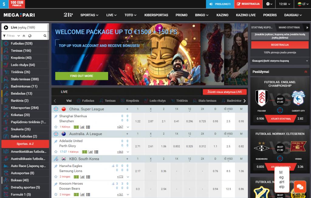 Sporto statymus Megapari kazino