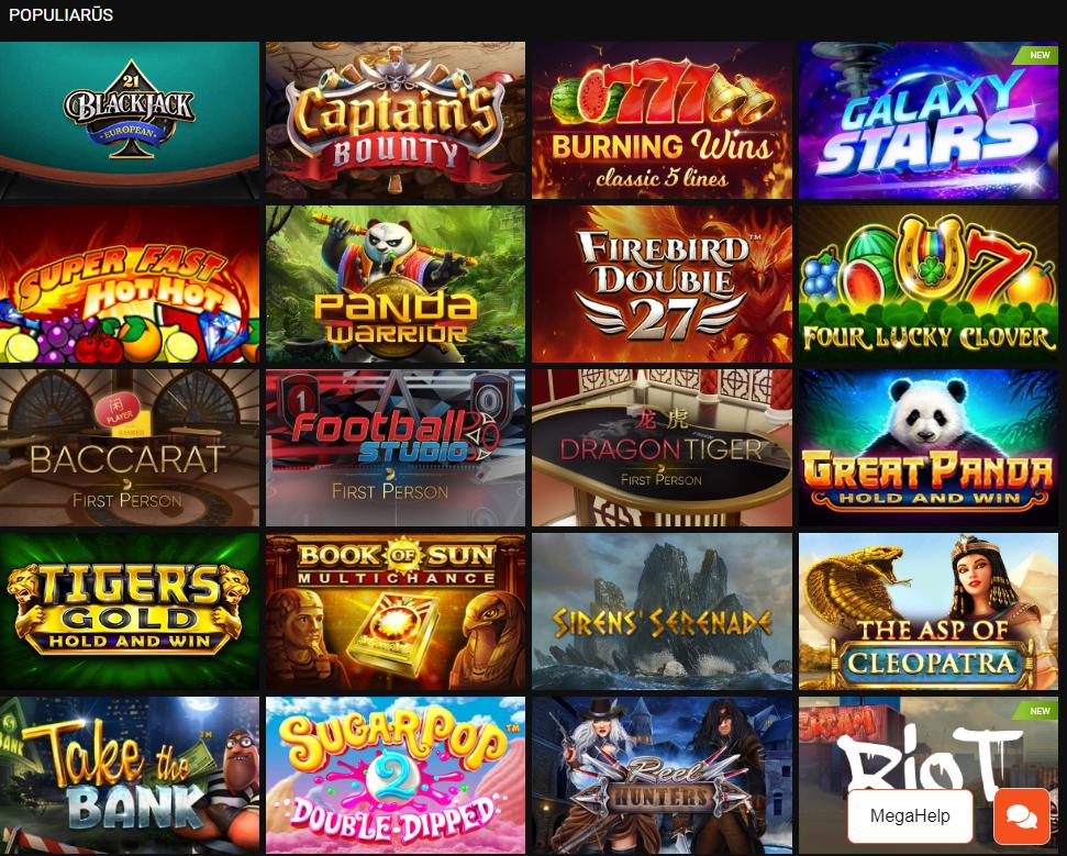 Megapari kazino lošimo automatai