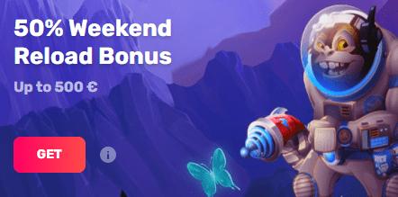 50% kazino bonusą iki 500 EUR