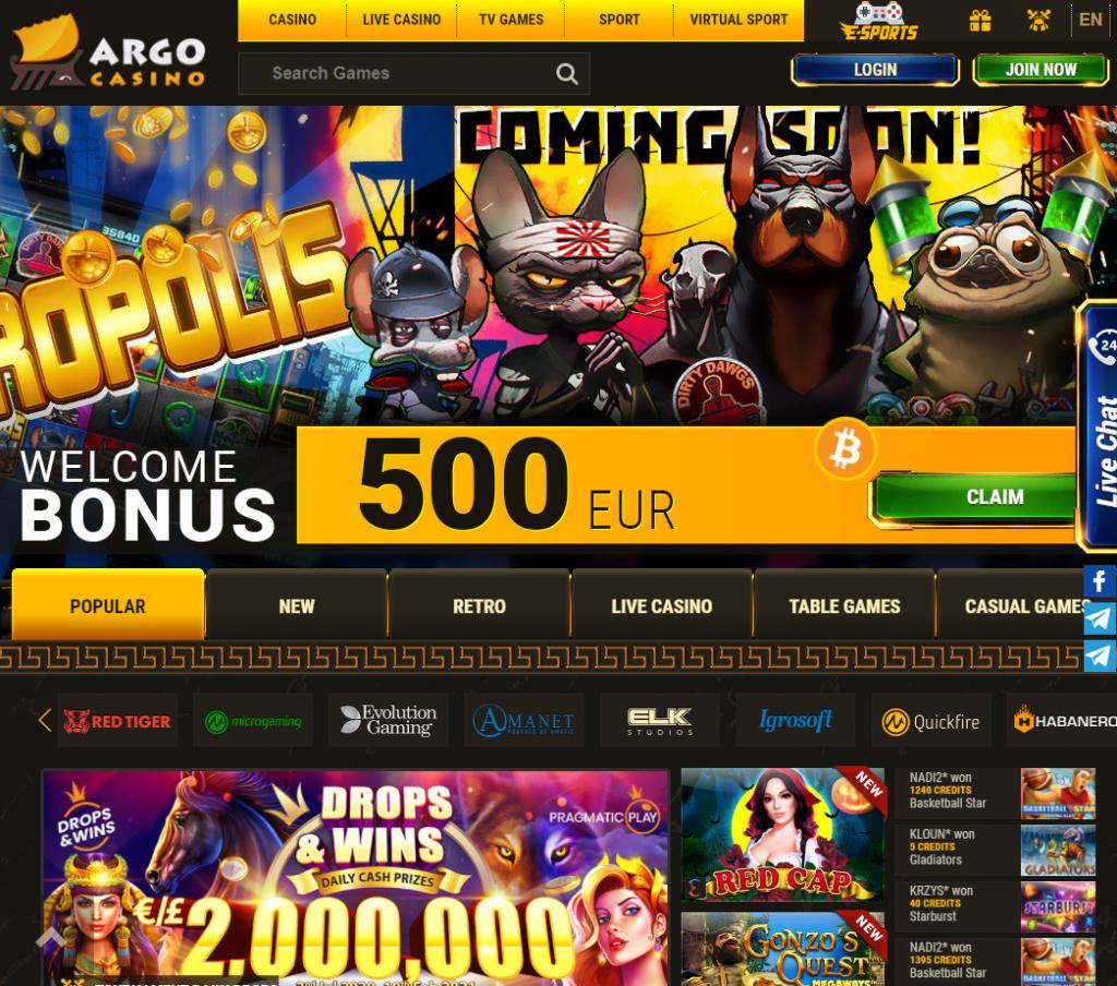 Oficiali Argo Casino internetinė svetainė