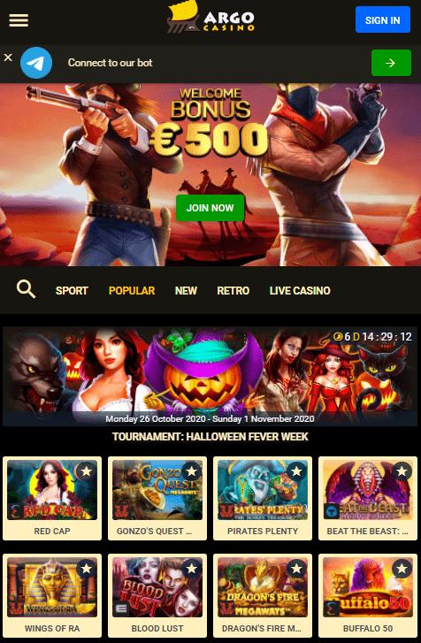 Argo mobilus kazino