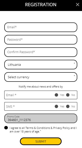 Internetinis kazino Betchaser - Registracija