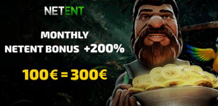 NETENT bonusas + 200% galimas vieną kartą per mėnesį