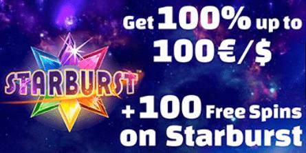 100% bonusas iki 100 EUR + 100 nemokamų sukimų Starburst lošimų automatuose
