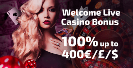 Live Casino Bonus 100% pirmajam depozitui iki 400€