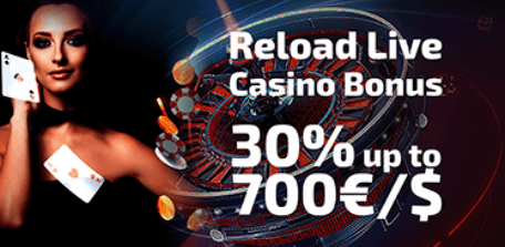 30% RELOAD Live kazino bonusas