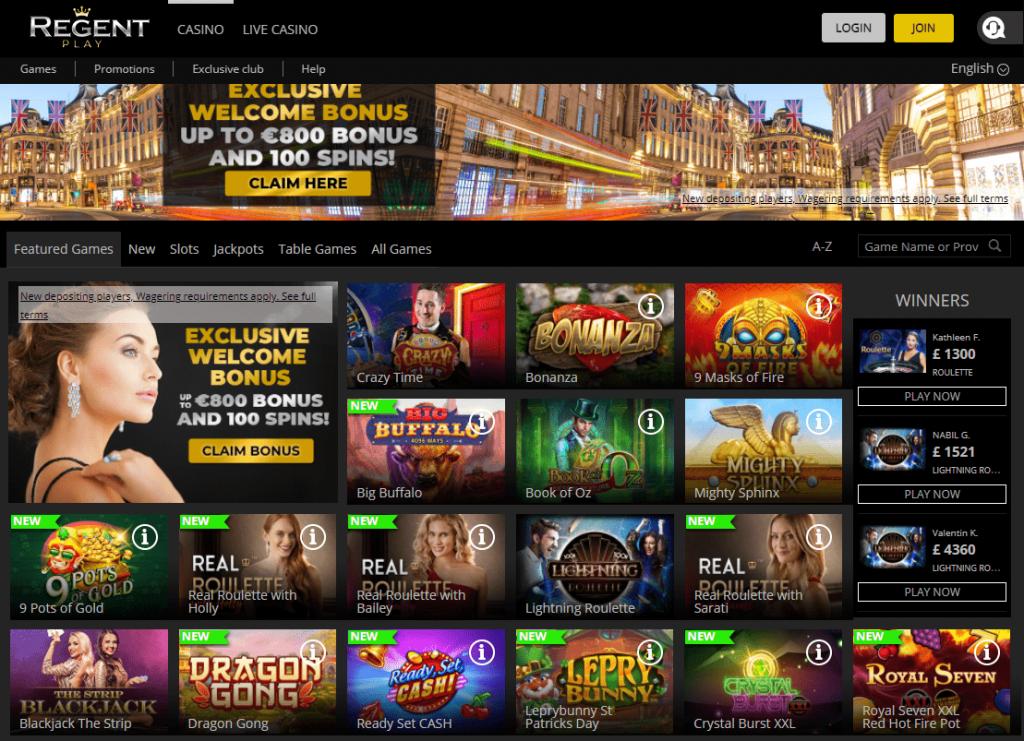 Oficiali Regent Casino internetinė svetainė