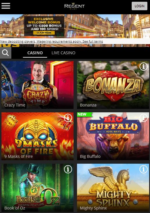 Regent Play mobilus kazino