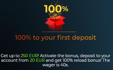 100% bonusas ir 100 kazino sukimai