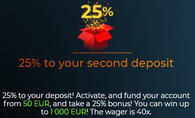 25% bonusas ir 75 nemokami sukimai