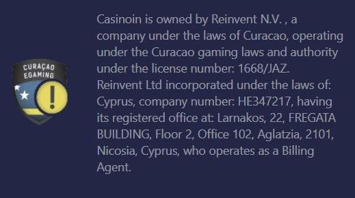 Casinoin - Kiurasao licenciją