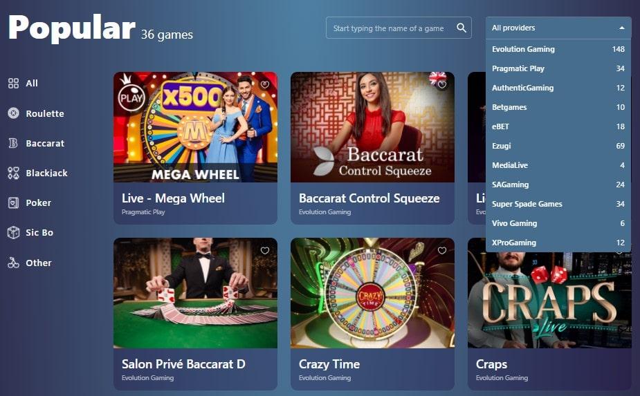 Casinoin Live Casino