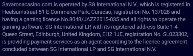 Kazino Savarona priklauso SG International N.V. operatoriui
