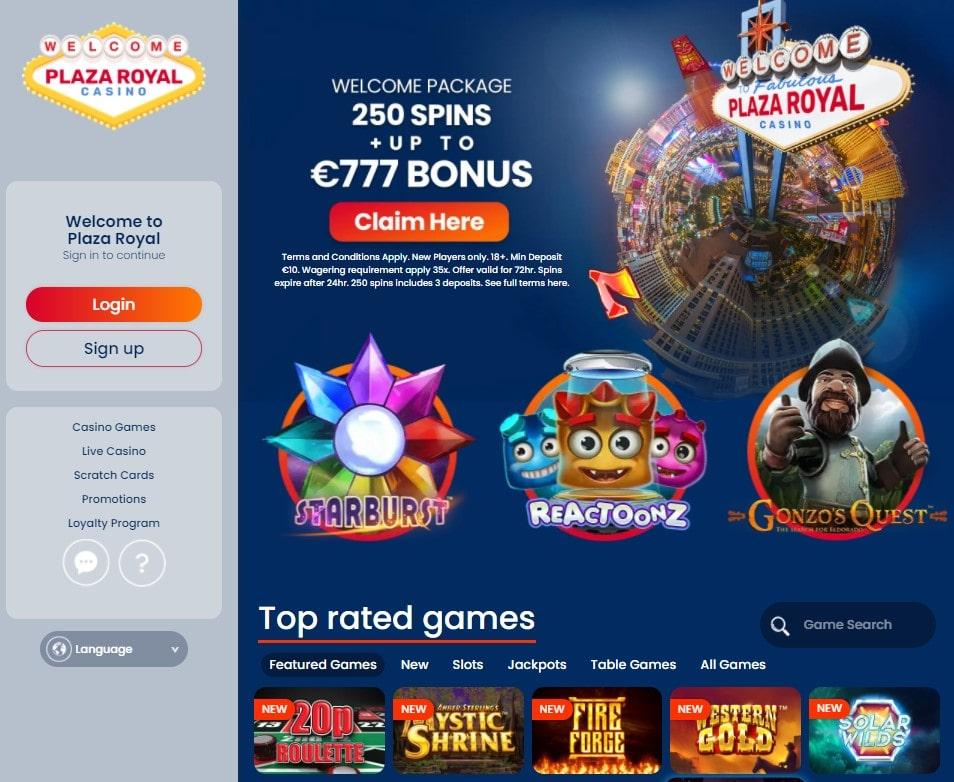 Oficiali Plaza Royal Casino internetinė svetainė