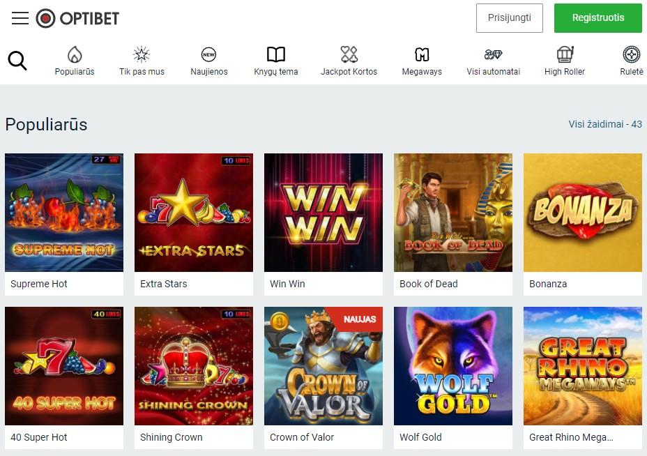 Oficiali OptiBet casino