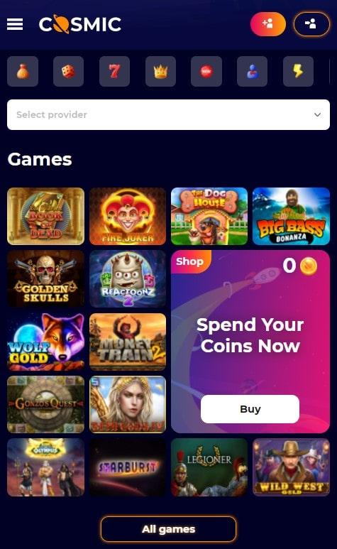 CosmicSlot mobilus kazino