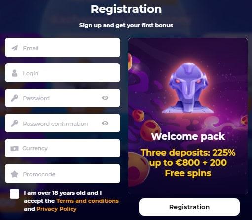 CosmicSlot registracija
