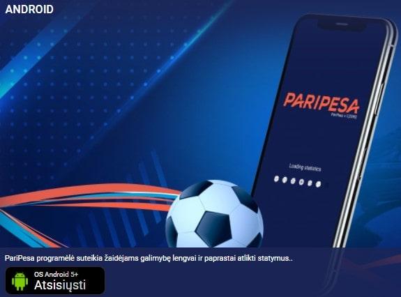 PariPesa Android mobilus kazino