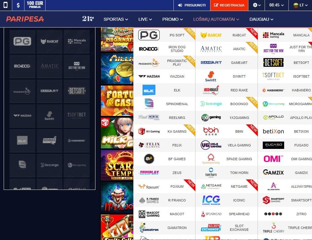 Lošimo automatai internetiniame kazino PariPesa