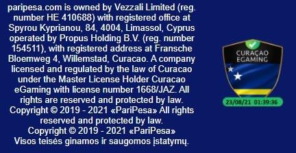PariPesa turi tarptautinę Kiurasao licenciją