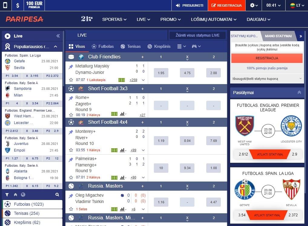 Oficiali kazino PariPesa internetinė svetainė
