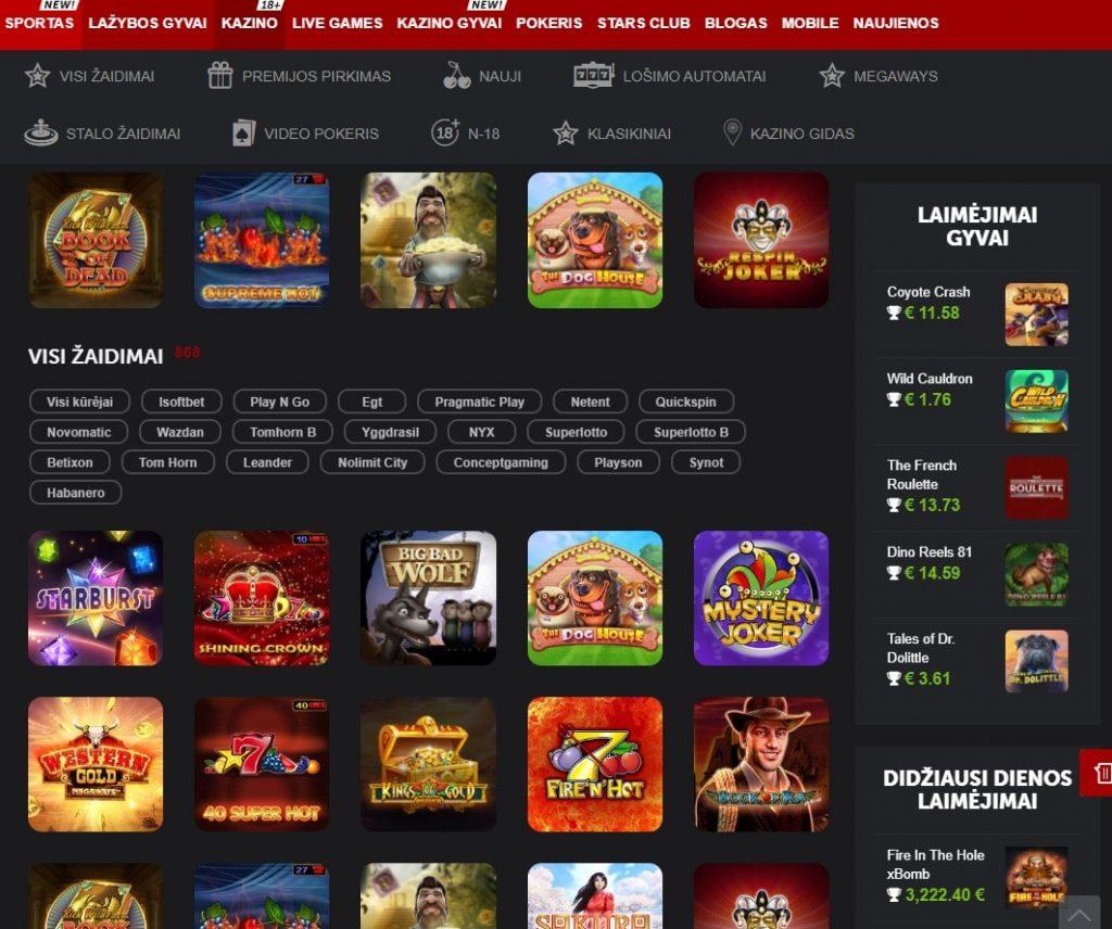 Lošimo automatai internetiniame kazino Betsafe